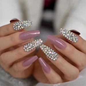 NWT coffin long rhinestone nails